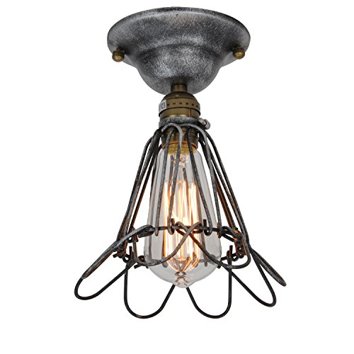 UNITARY BRAND Vintage Barn Metal Mini Semi Flush Mount Light Max 60W With 1 Light Aged silver Painted (Aged Silver 1 Light)