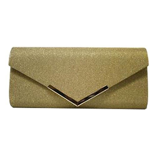 Bag Prom Trim Metal Gold New Purse Ladies Bridal Shimmer Glitter Clutch xPUA8qnOg