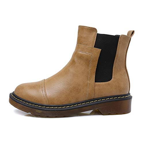 Smilun Kids¡¯s Chelsea Ankle Chelsea Boots Flats Low Heel with Block Western Chunky Heel Chelsea Boots for Kids Brown US6 by Smilun (Image #2)