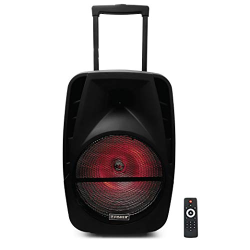 - Fisher FBX1520 15-inch Portable Wireless Speaker System with Colorful Light Effects, Microphone Input, USB/AUX/TF Card, FM Radio