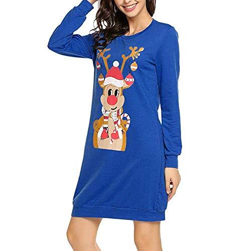 Personaggio Stlie Lunga Girocollo Camicia Blau Vestito Abiti Manica Natale Da Elegante Mini Camicetta Donna Stampa Abito Moda Sciolto Casual Unique Scimmia PiTukwOXZ