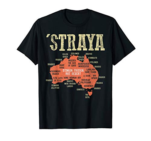Vintage Aussie Day Straya Australia Map G'day Mate Outback T-Shirt (Map Of Sydney Australia And Surrounding Area)