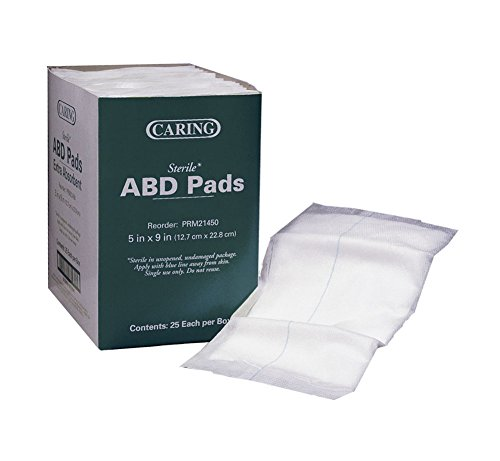 Pads Dressing (Medline Industries PRM21450 Abdominal Pads, Sterile, 5 in.x9 in., 25/BX, White)