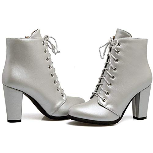 High Vitalo Ankle Autumn Chunky Up Womens Silver Heel Boots Winter Booties Ladies Lace wZrnZx