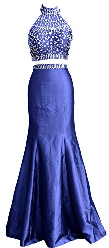 MACloth Women Mermaid Two Piece High Neck Taffeta Long Prom Dress Formal Gown Azul Real