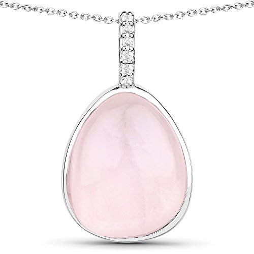 LoveHuang 7.75 Carats Genuine Rose Quartz and White Topaz Drop Pendant Solid .925 Sterling Silver With Rhodium Plating, 18 Inch Chain (Rose Genuine Necklace Quartz)