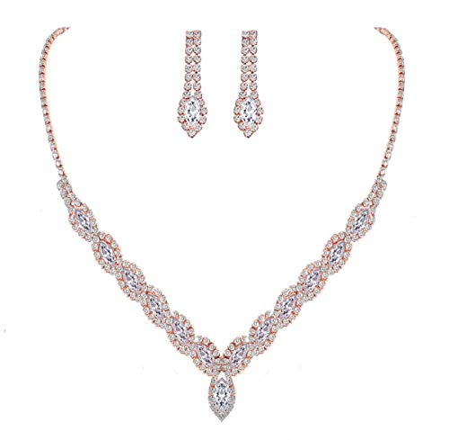 YSOUL Sparkling CZ Rhinestone Bridal Bridesmaid Jewelry Set Necklace Earrings for Wedding Evening Party Prom (Rose Gold)