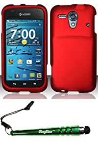 FoxyCase(TM) FREE stylus AND For Kyocera Hydro Edge C5215 (Boost Sprint) Rubberized Case Cover Protector - Red RP Desire Safe Phone cas couverture