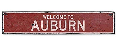 HarrodxBOX Welcome to Auburn Vintage US Auburn, Kentucky Distressed Custom City Sign Metal Tin Door Sign for Boys Girls Quality Aluminum Sign