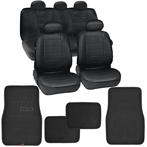 Motor Trend Gift Pack - Premium Leatherette Car Seat Covers & Thick FatRug Floor Mats - 13 Piece Set - Classic Black
