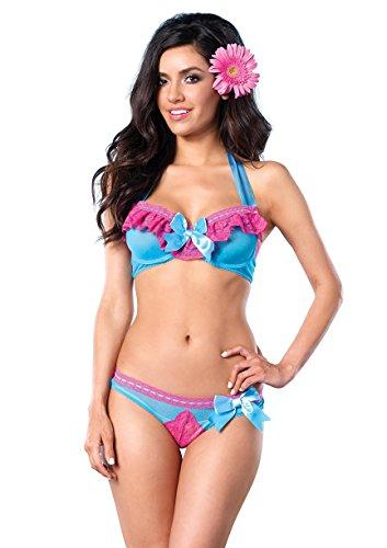 Leg Avenue Women's Mesh Underwire Halter Bra and Peek-A-Boo Back Panty 2 Pieces, Turquoise, Medium Sparkle Lace Lingerie Set