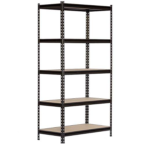 Black Steel Storage Rack Boltless Shelving Tier Height Adjustable 30