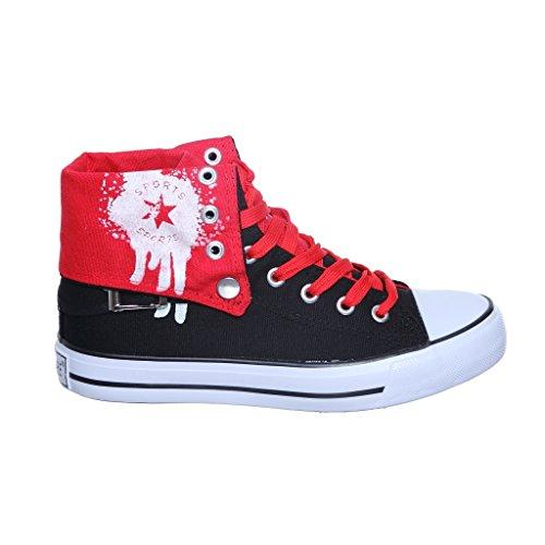 Nuovo Stile!! Sneakers Alte Da Donna Top In Canvas Nero Best Seller Black / Redv2