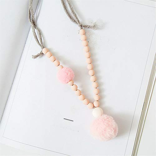 Lighting Pendant Fall (YChoice of Lovely Cosmetics Toy Autumn and Winter Children's Sweater Chain Plush Ball Pendant Necklace-Pink)