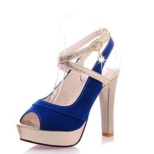 Balamasa Womens Gesp Assorti Kleuren Hoge Hakken Sandaal Schoenen Blauw