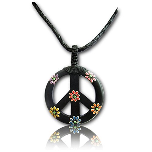 Earth Accessories Environmentally Responsible Organic Narra Wood Peace Sign Necklace (Peace Pendant Necklace)