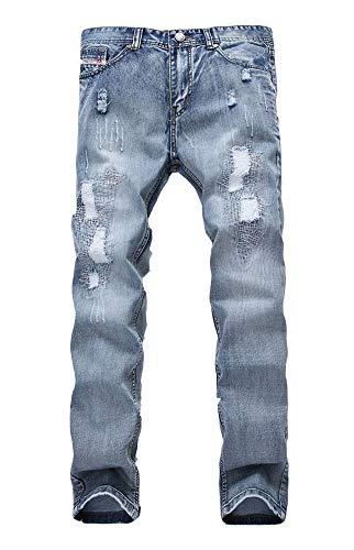 Versaces Hombres Cintura Media Jeans Agujero Blanqueamiento Corte Ajustado Heterosexual Ocio Pantalones Color 1
