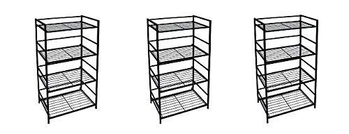 Flipshelf-Folding Metal Bookcase-Small Space Solution-No Assembly-Home, Kitchen, Bathroom and Office Shelving-Black, 4 Shelves, Wide (3-(Pack))