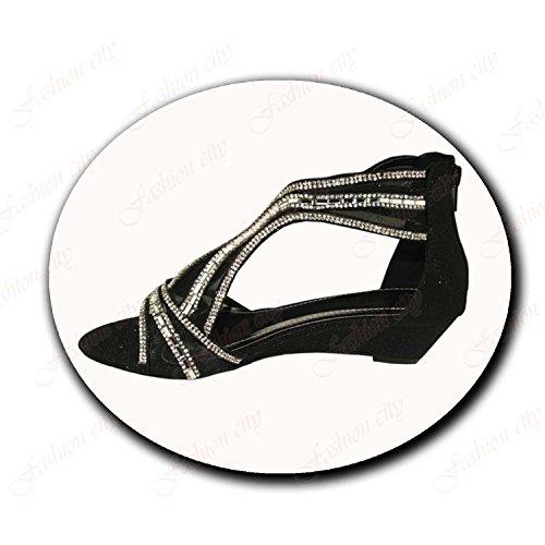 Aaishaz 786 Julie Ladies Womens Jewel Diamantes Glitter Low Wedge Heel Peep Toe Party Shoes (UK:{8}, Black)