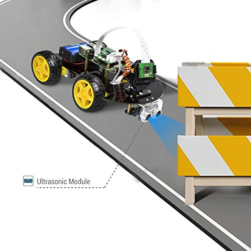 UCTRONICS Robot Car Kit for Raspberry Pi - Real Time Image and Video, Line Tracking, Obstacle Avoidance with Camera Module, Line Follower, Ultrasonic Sensor and App Control by UCTRONICS (Image #4)