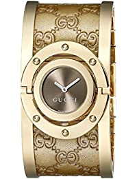 Twirl Gold Guccissima Leather Bangle Womens Watch(Model:YA112434)