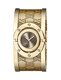 Gucci Women's YA112434 Twirl Gold Guccissima Leather Bangle Watch