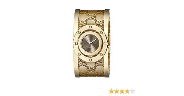 Amazon.com: Gucci Twirl Gold Guccissima Leather Bangle Womens Watch(Model:YA112434): Watches
