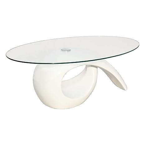 vidaXL Tavolino Caffè con Ripiano Ovale in Vetro Bianco Lucido ...