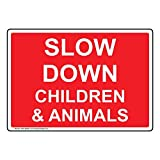 ComplianceSigns Vinyl Slow Down Children & Animals Labels, 5 x 3.50 in. with English Text, Red, pack of 4