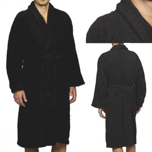 MARRIKAS Unisex SMALL Egyptian Cotton BLACK ROBE - Marrikas Mens Robe