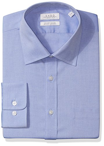Enro Men's Non-Iron Slim Fit Pinpoint Oxford Dress Shirt, Light Blue, 16.5 x 36/37 Enro Pinpoint