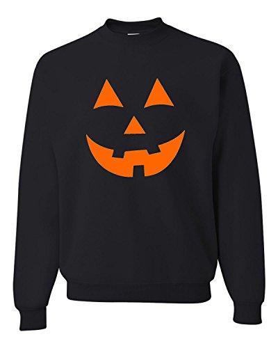 Medium Black Adult Jack O Lantern Pumpkin Face Halloween Funny Sweatshirt -