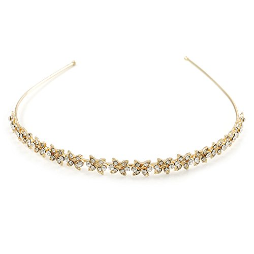 Bridal/ Wedding/ Prom Gold Plated Clear Crystal Floral Tiara Headband