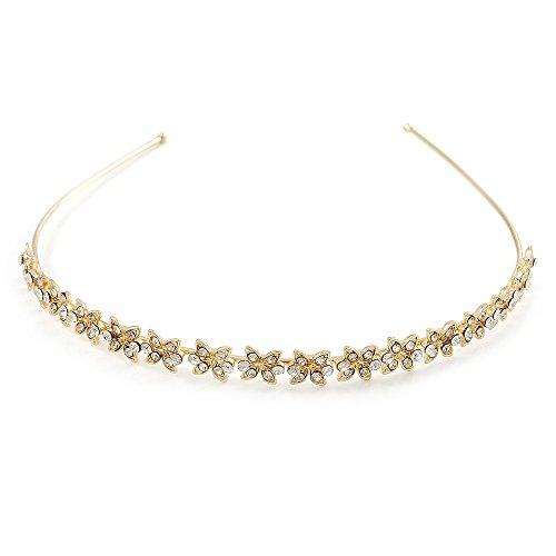 Bridal/ Wedding/ Prom Gold Plated Clear Crystal Floral Tiara Headband
