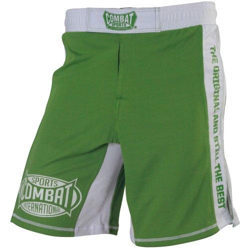 Combat Sports MMA Training Boardshorts, Green/White, 32-Inch