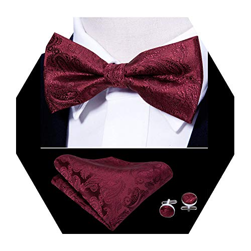 Barry.Wang Burgundy Bow Tie Set Paisley Silk Bow Tie Pocket Square Cufflinks
