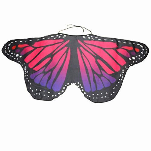 FEITONG Halloween Party Women/Child Kids Boys Girls Bohemian Butterfly Wings Shawl Pashmina Nymph Costume Accessory(Women: 147x68cm,Hot Pink) -