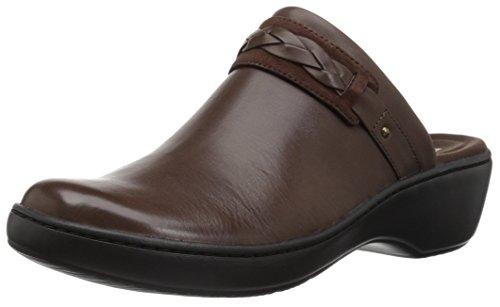 CLARKS Women's Delana Abbey Clog, Dark Brown Leather, 080 M -