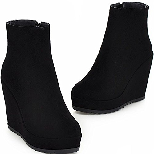 KingRover Women's Platform Wedge Side Zippers Covered Ankle Vegan Boots Size Black W2UX1xa7p