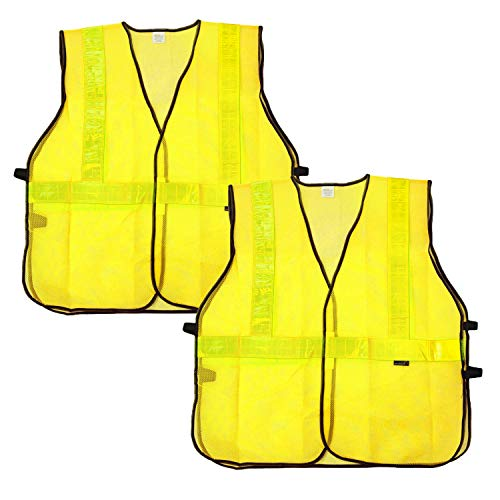 SAFE HANDLER Lattice Reflective Safety Vests | Lightweight and Breathable, Fluorescent Fabric, Hook & Loop Closure, Mesh Fabric, YELLOW, X-Large, 2 PACK