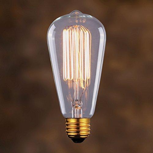 Vintage Edison Light Bulb Marconi Squirrel Cage Clear Globe 60W