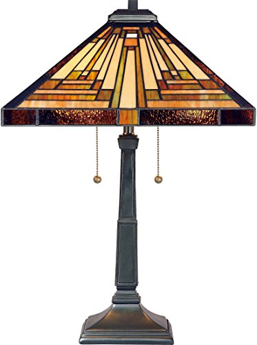 (Quoizel TF885T Stephen Tiffany Table Lamp Lighting, 2-Light, 150 Watts, Vintage Bronze (23