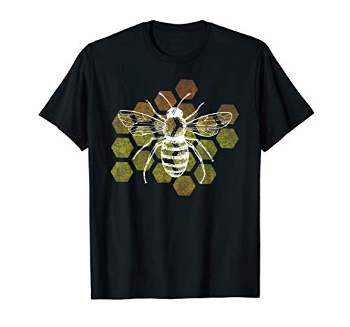 Beekeepers distressed honeycomb retro design T-Shirt