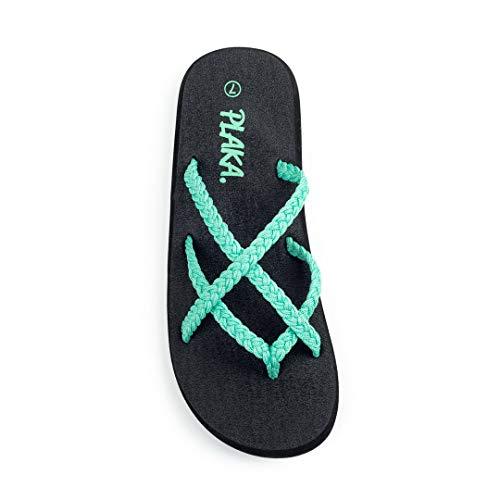 Plaka Flip Flops for Women Turquoise Size 7 Splash ()