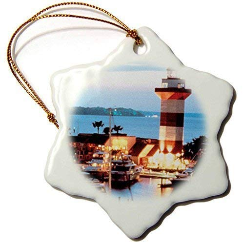 QMSING 3-Inch Porcelain Snowflake Decorative Hanging Ornament, Harbor Town Lighthouse at Hilton Head Island at Dusk BH567492