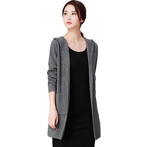 (シンイ)Xin Yi レディース カ-ディガン フォーマルセーター セーター ニット ロング コート トップス 上着 長袖 帽子付け ゆったり おしゃれ 柔らか