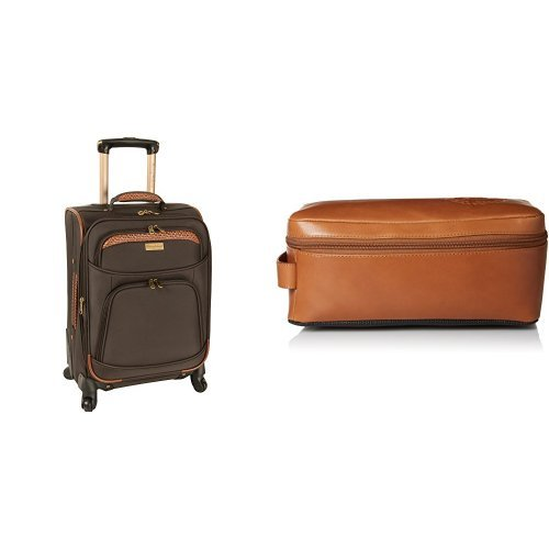 Tommy Bahama Softside Carry On Luggage with Leather Travel Kit Toiletry Bag, Dark Brown/Cognac by Tommy Bahama