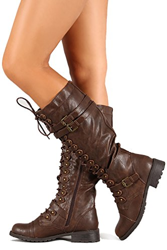 Funky Knee Lace Brown Women's Fourever Vegan Leatherette Buckle Boot Up Triple High 1Uqpwqd