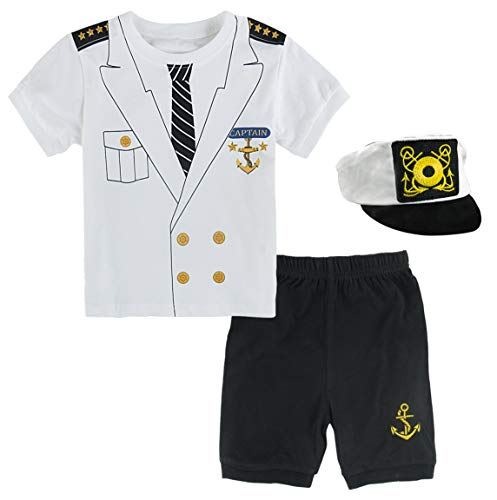 Mombebe Baby Boys Halloween Custome Captain Clothing Set with Hat