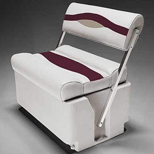Seat Premium Flop Flip - DeckMate Premium Pontoon Flip Flop Seats (Ivory/Burgundy/Tan)